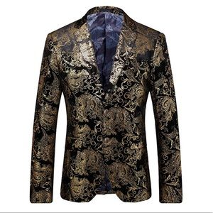 NEW Black Velvet Gold Two Button Blazer Jacket